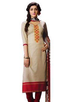 $14.28 Cream Crepe Churidar Suit 56188 Churidar Suits, Salwar Kameez, Ethnic, High Neck Dress, Saree, Cream, Sweaters, Stuff To Buy, Collection