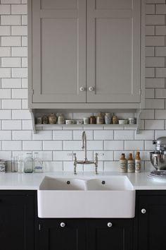 Apron Front Porcelain Sink, Bridge Faucet, Subway Tile, Grey Grout - Beautiful