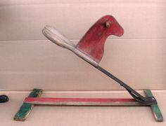 Primative Rocking Horse, Antique Folk Art Primitive Rocking Horse Glider Old Toy…