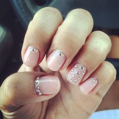 Light Pink Gel Polish with Rhinestones <3
