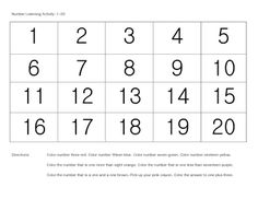 This free listening activity was created for use at the end of a pre-k year or even in kindergarten or first grade. A grid shows numbers 1-20. Instructions at the bottom ask students to color a particular number - reinforces numbers, more than/less than, colors and more.