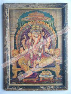 Rare Ganesha Religious Old Sparkling Print in Old Wooden Frame India Vtg #2439