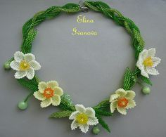 necklace narcissus, flower beaded exclusive handmade bib necklace, fashion 2015, yellow, green, orange, nature style jewelry, gift for her