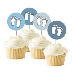 Søte Cupcakes er et must på babyshoweren! Gjør de enda søtere med disse Cupcaketoppersene med nydelig Baby Boy tema! Mini Cupcakes, Fondant, Baby Boy, Boys, Desserts, Baby Boys, Tailgate Desserts, Deserts, Postres