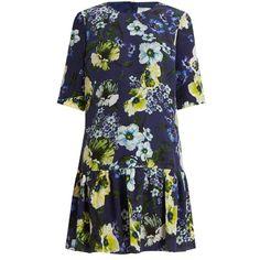 Erdem Emmie Hasu Night-print silk-crepe dress ($620) ❤ liked on Polyvore featuring dresses, blue print dress, pattern dress, print dress, blue dress and silk crepe dress
