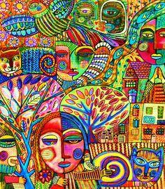 Talavera Harmony Cat Garden* - SILBERZWEIG ORIGINAL Art PRINT - Folk Art, Tree Of Life, Angel, Exotic, Bird Of Paradise, Spiritual, River
