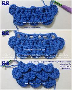 Como tejer el punto cocodrilo o escama a crochet o ganchillo 08