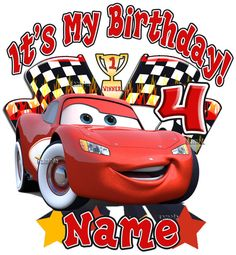 Cars Disney T Shirt Lightning Mcqueen Personalized Birthday