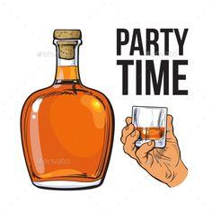 Rum Bottle and Hand Holding Full Shot Glass