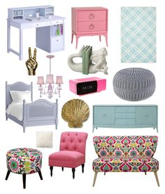 """Roma's Room "" by collectivelymessy ❤ liked on Polyvore featuring interior, interiors, interior design, home, home decor, interior decorating, Redford House, Lite Source, Dot & Bo and Threshold"