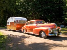 This 1956 Shasta is towed by a mechanically original 1947 Canadian Pontiac with a flathead six-cylinder engine. The trailer and car are owned by Lew and Lesley Puls. (Douglas Keister)
