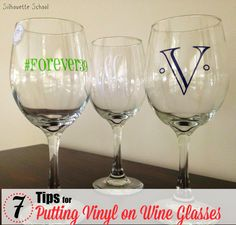 Putting Vinyl on Wine Glasses: 7 Tips for Success #Silhouette #Silhouetteideas #silhouetteprojects #silhouettetutorials #silhouettevinyl #htv.