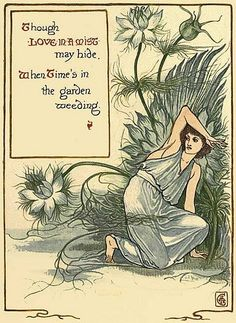 A Floral Fantasy in an Old English Garden, Illustrated by Walter Crane, ★ Available to read online for free 🍒Ubiquitous Inks🍒 The Lady Of Shalott, Walter Crane, Garden Weeds, Wonder Book, Flower Fairies, Japanese Prints, British Library, Fairy Art, Old English