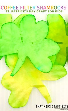 Coffee Filter Shamrock Craft for Preschool - This Easy St Patrick's Day Craft for Kids is perfect for toddlers through tweens! - ThatKidsCraftSite.com