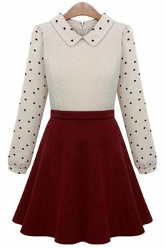 Beige Contrast Red Hearts Print Ruffle Dress. This looks like something Clara would wear.