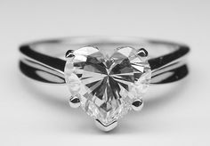 Heart Shape Diamond Solitaire Concave Engagement Ring in 14K White Gold