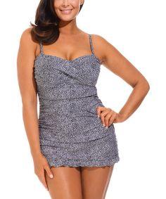 Look what I found on #zulily! Black & White Twist-Front Swimdress - Women & Plus by s4a #zulilyfinds