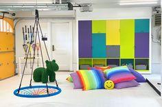 a playroom by Smart D2 Playrooms Kids Play Spaces, Cool Kids Rooms, Loft Spaces, Interior Design Principles, Luxury Interior Design, Indoor Swing, Plan Toys, Playroom Organization, Playroom Design