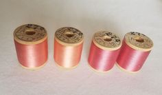 Lot of 4 Belding Corticelli Sewing Silk Wooden Spools Thread Mixed Pink Shades Wooden Spools, Silk Thread, Shades, Sewing, Pink, Dressmaking, Couture, Stitching, Sunnies