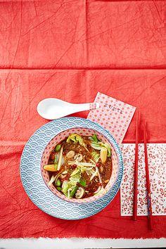 Peking Suppe - Süß Sauer Suppe mit Glasnudeln