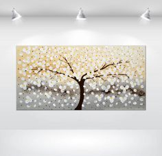 "ORIGINAL Large 32""  White Cherry Blossom Painting Modern Acrylic Painting Single Tree Landscape Gallery Fine Art on Etsy, $199.00"