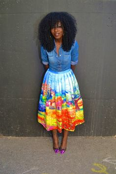 Fitted Denim Shirt + Scenic Print Pleated Midi Skirt