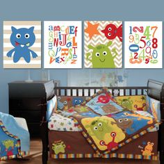Baby Boy Nursery Print Art  Monster Nursery  by RhondavousDesigns2