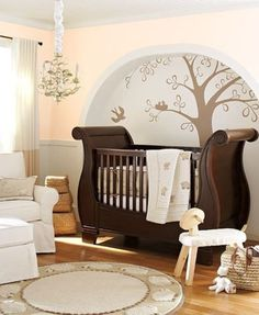 Traditional Kids Bedroom with Pottery Barn Kids Larkin Sleigh Crib (Discontinued), Paint 1, Chandelier, Paint 2, Mural