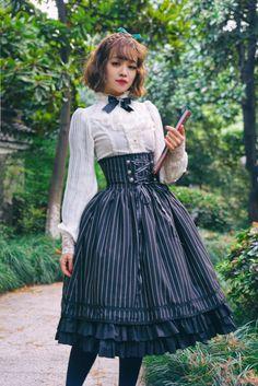 Surface Spell -Gothic Academy- Striped Lolita High Waist Skirt