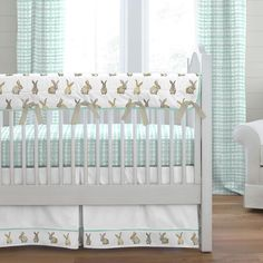 Mint and Taupe Rabbits Crib Bedding collection by Carousel Designs. Girl Crib Bedding Sets, Carousel Designs, Crib Skirts, Crib Mattress, Cribs, Rabbits, Taupe, Names Baby, Girl Names