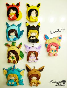 Pokemon Eeveelution Jewelry, Pokemon Keychain, Kawaii Polymer Clay Necklace, Eevee, Pokemon, Kawaii Polymer Clay Charms