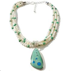 """Jay King Variscite & Turquoise Sterling Silver Pendant 18"""" Bead Necklace #JayKing #Beaded"""