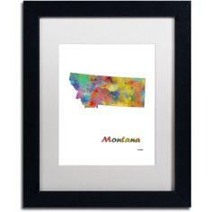 Trademark Fine Art Montana State Map-1 inch Canvas Art by Marlene Watson, White Matte, Black Frame, Size: 11 x 14