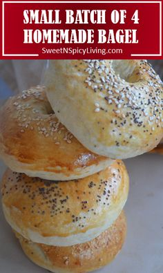 Aug 2019 - This Simplified version of Homemade Bagel skips the process of using baking soda solution. Don't worry, this Bagel taste great even without submerging it in baking soda water. The texture of … Cooking For One, Batch Cooking, Cooking Recipes, Bread Recipes, Cooking Bread, Muffin Recipes, Small Meals, Meals For Two, Muffins