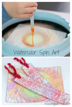 kids art activity: Beautiful spin art with watercolors! (Includes lots of tips and ways to create even if you don't own a spin art machine!)~ Housing a Forest Projects For Kids, Diy For Kids, Art Projects, Art Activities For Kids, Preschool Art, Crafts To Do, Crafts For Kids, Ecole Art, Camping Crafts