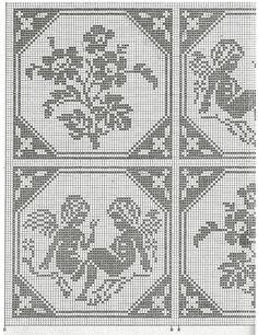 schema copriletto   Hobby lavori femminili - ricamo - uncinetto - maglia Cross Stitch Angels, Crochet Angels, Manta Crochet, Soutache Jewelry, Filet Crochet, Dory, Bed Spreads, Hand Stitching, Diy And Crafts