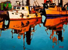 Ship Shapes, by Mike Svob Canadian Painters, Canadian Artists, Landscape Art, Landscape Paintings, Boat Painting, Guache, Nautical Art, Acrylic Art, Artist Art