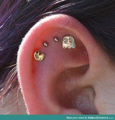 Pac-Man ear piercing