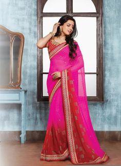 Pretty Hot Pink Patch Border Work Designer Saree
