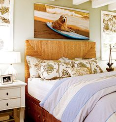 Woven Headboard And Dog On Surfboard Picture Make For A Beachy Bedroom .