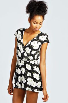 Mia Floral Capped Sleeve Wrap Front Playsuit at boohoo.com