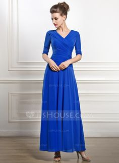 A-Line/Princess V-neck Ankle-Length Jersey Mother of the Bride Dress With Ruffle (008056881) - JJsHouse
