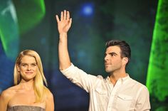 Actress Alice Eve and actor Zachary Quinto attend the 'Star Trek: Into Darkness' Galaxy Carpet event at the National Museum of Emerging Science and Innovation, Miraikan on August 14, 2013 in Tokyo, Japan.