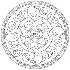Dolphins And Sea Stars Mandala Coloring Pages