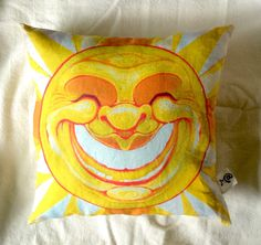Golden Sunshine of the happiest pillow ever! Hand crafted cotton linen canvas pillow, stuffed with green cotton and joy! by mattseefelt on Etsy