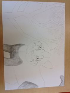 In de 6de les van mijn tekening ben ik begonnen met de vacht van de kat minpunt ik hoopte al bijna klaar te zijn met de vacht. Ik vind het erg veel werk om de vacht te maken en heb eigenlijk geen zin meer om verder te gaan met de vacht.