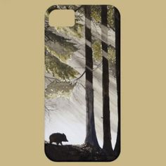 Wild Boar iPhone 5 Covers  A wild boar in the deep forest, the sunlight breaking through the branches of the trees and creating an interesting mood. The perfect painting for all animal lovers and lovers of scenic views and nature. This is a reproduction of an original watercolor.