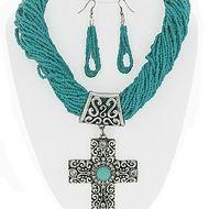 Rustic turquoise cross necklace set also in black & orange. $20 www.rainingrustic.com