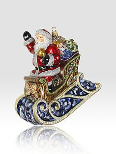 Jay Strongwater Santa in His Sleigh Glass Ornament #Saks #givingsaks