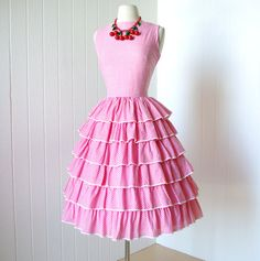 Cute! \\ vintage 1950's dress  pretty in PINK GINGHAM ruffles by traven7, $140.00